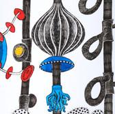 Botanical Scenes, sheet 64 27th January 2021 Ink, watercolour, fineliner, perforation on paper 148 x 210 mm  Botanische Szenen, Blatt 64 27. Januar 2021 Tusche, Aquarellfarbe, Fineliner, Perforation auf Papier 148 x 210 mm