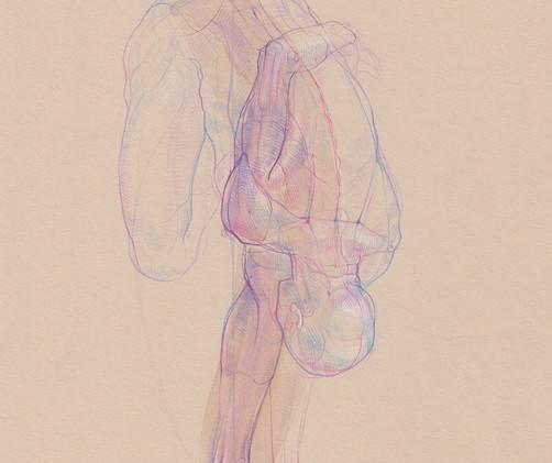 Ardha Baddha Padmottanasana - 2019,  Pencil and watercolor on paper, 21 x 29,7 cm