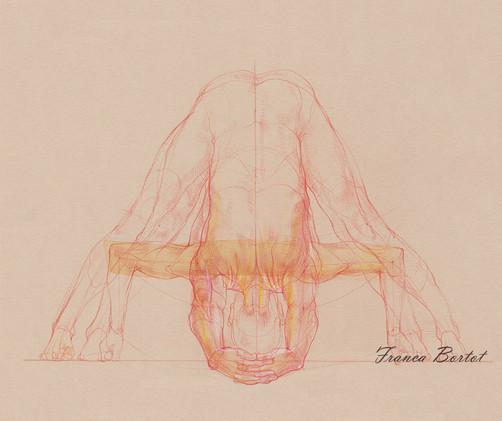 Prasarita padottanasana C & D - 2019, Pencil and watercolor on paper, 42 x 29,7 cm