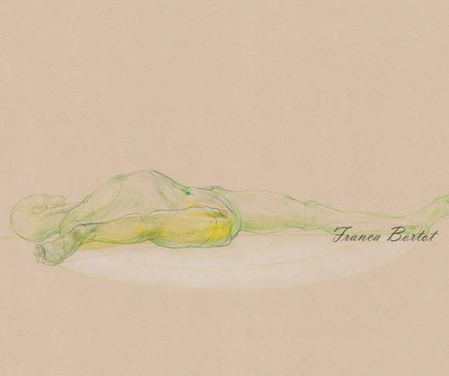 Supta Parsvasahita - 2019,  Pencil and watercolor on paper, 42 x 29,7 cm