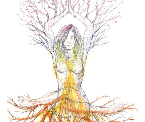Chakra tree of life - 2020, Pencil and watercolor on paper, 29,7 x 42 cm