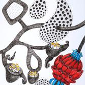 Botanical Scenes, sheet 62 25th January 2021 Ink, watercolour, fineliner, perforation on paper 148 x 210 mm  Botanische Szenen, Blatt 62 25. Januar 2021 Tusche, Aquarellfarbe, Fineliner, Perforation auf Papier 148 x 210 mm