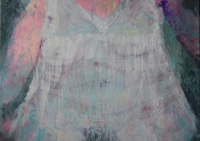La robe idéale 2, 2021  Techniques mixtes sur toile 50x70 cm
