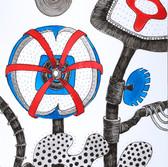 otanical Scenes, sheet 58 21st January 2021 Ink, watercolour, fineliner, perforation on paper 148 x 210 mm  Botanische Szenen, Blatt 58 21. Januar 2021 Tusche, Aquarellfarbe, Fineliner, Perforation auf Papier 148 x 210 mm