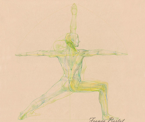 Virabhadrasana A and B - 2019, Pencil and watercolor on paper, 29,7 x 42 cm