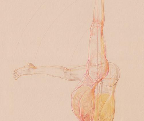 Urdhva Dandasana - Sirsasana B,  2019 Pencil and watercolor on paper, 29,7 x 42 cm