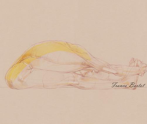 Pascimottanasana - 2019, Pencil and watercolor on paper, 42 x 29,7 cm