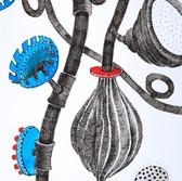 Botanical Scenes, sheet 60 23rd January 2021 Ink, watercolour, fineliner, perforation on paper 148 x 210 mm  Botanische Szenen, Blatt 60 23. Januar 2021 Tusche, Aquarellfarbe, Fineliner, Perforation auf Papier 148 x 210 mm