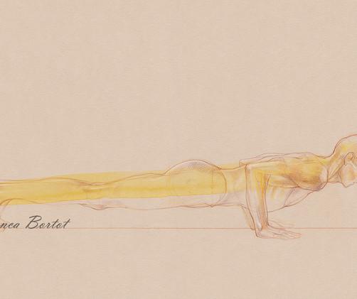 Chaturanga Dandasana - 2019, Pencil and watercolor on paper, 42 x 29,7 cm