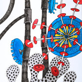 Botanical Scenes, sheet 63 26th January 2021 Ink, watercolour, fineliner, perforation on paper 148 x 210 mm  Botanische Szenen, Blatt 63 26. Januar 2021 Tusche, Aquarellfarbe, Fineliner, Perforation auf Papier 148 x 210 mm