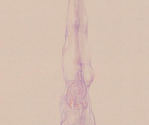 Sirsasana A - 2019,  Pencil and watercolor on paper, 29,7 x 42 cm