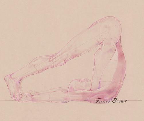 Ubhaya Padangusthasana, 2019  Pencil and watercolor on paper, 42 x 29,7 cm