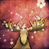 Moose in Boots Sakura Digital Illustration, 2021