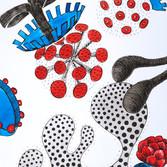 Botanical Scenes, sheet 68 31st January 2021 Ink, watercolour, fineliner, perforation on paper 148 x 210 mm  Botanische Szenen, Blatt 68 31. Januar 2021 Tusche, Aquarellfarbe, Fineliner, Perforation auf Papier 148 x 210 mm