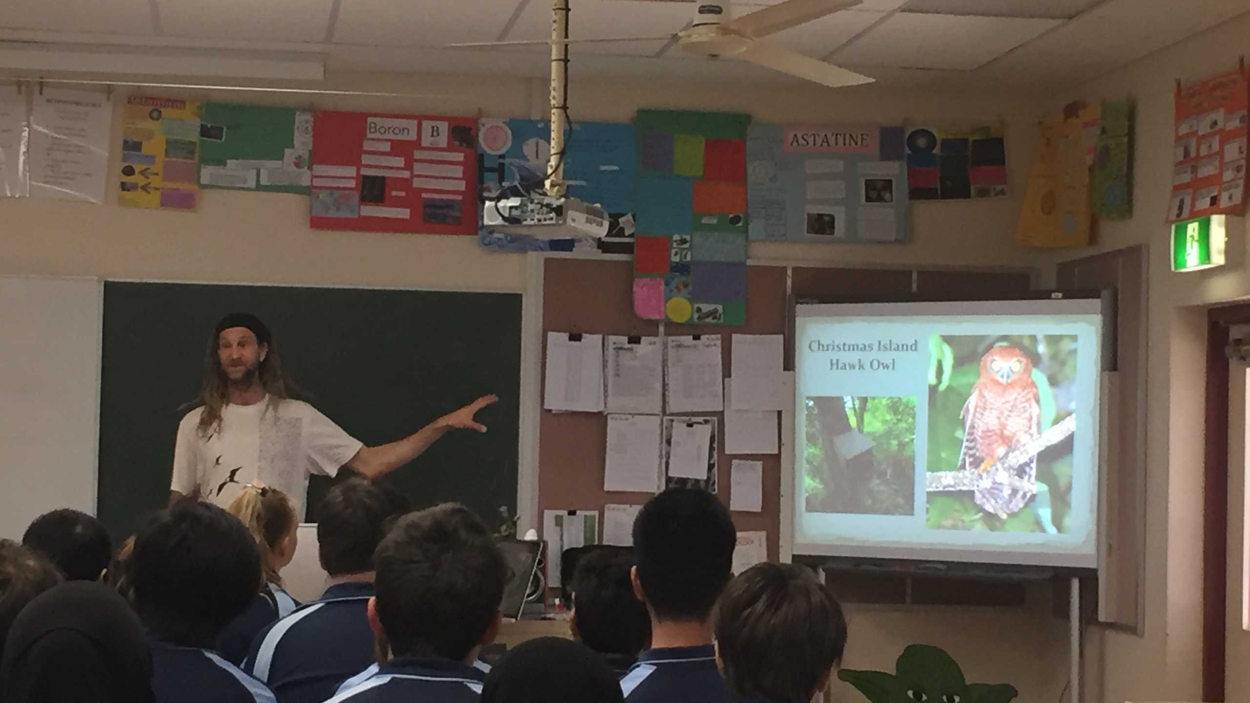 Simon Cherriman from Insight Ornithology giving a presentation to students on Hawk-owls.