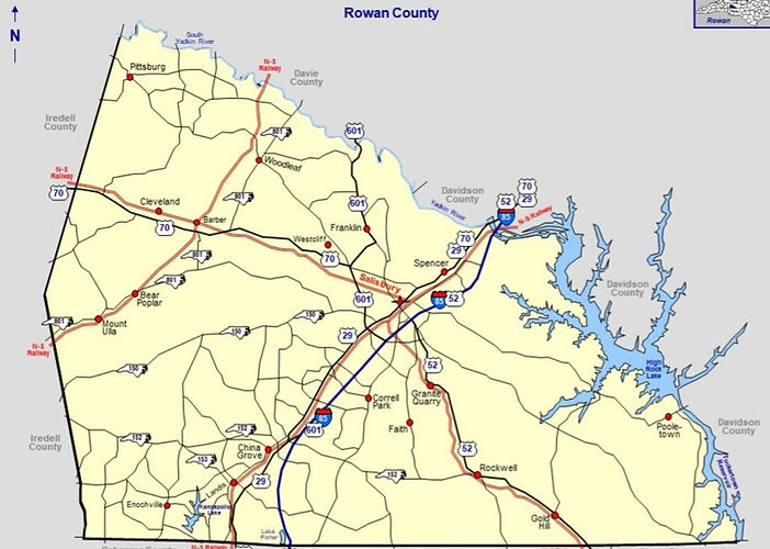 Rowan County NC Map
