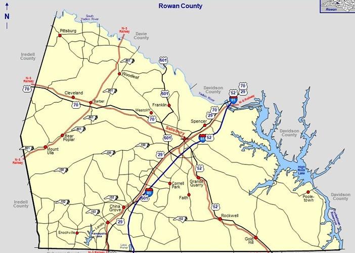 Rowan County NC Map