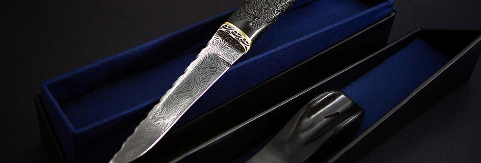 Уникальный булатный нож ручной работы с инкрустацией /Luxury modern inlaid knife