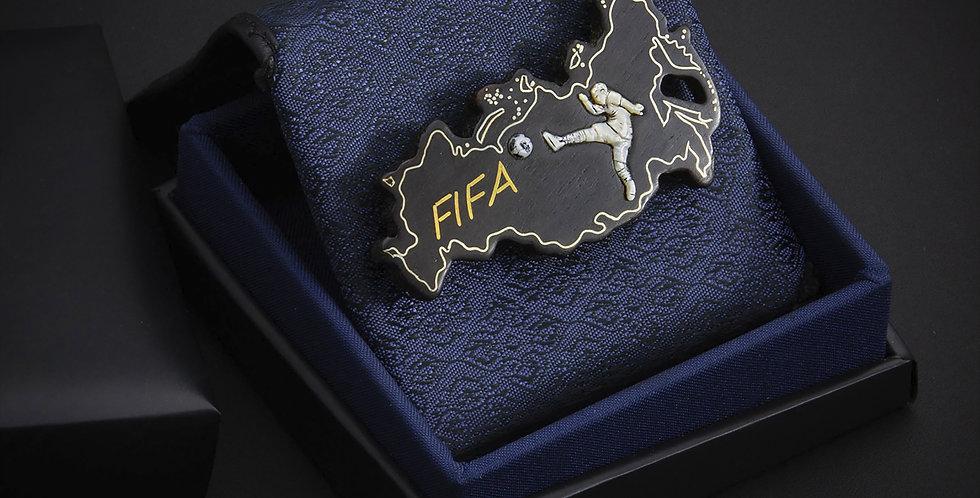 Подарок футболисту)) Значок из чёрного дерева с инкрустацией / Blackwood jewelry