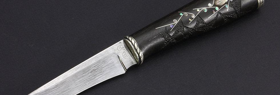 2. Модель А02. Клинок - булат, Лунёв.  Нож-финка А. Рукавишникова с инкрустацией