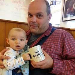 Harvey and papa at breakfast, nothin'in finah than Becky's Dinah_edited.jpg