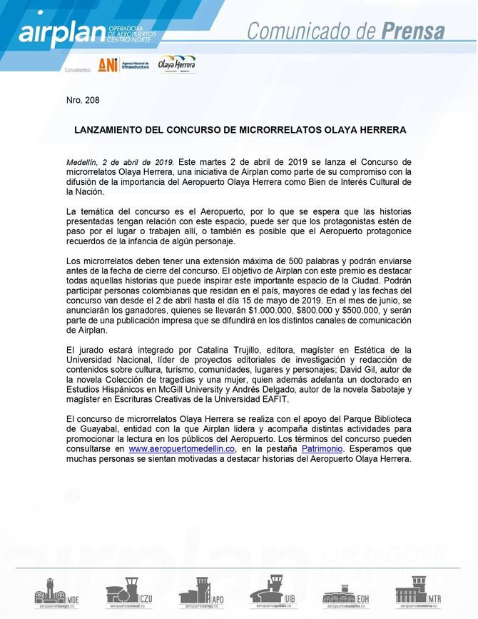 Concurso Microrelatos Aeropuerto Olaya Herrera