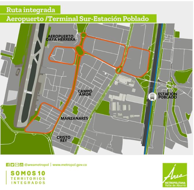 ¿Como opera la Ruta Integrada Aeropuerto/Terminal/Estación Poblado?