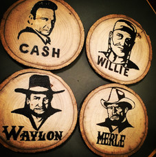 """hand painted """"outlaw series"""" coasters"""