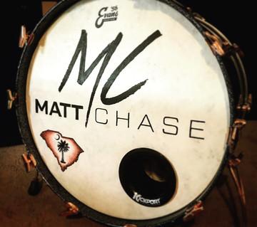 Custom hand painted kick drum head for Matt Chase