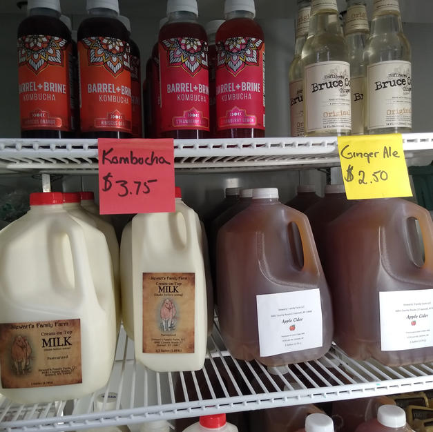 Kombucha, Ginger ale, milk, and apple cider from our own apples