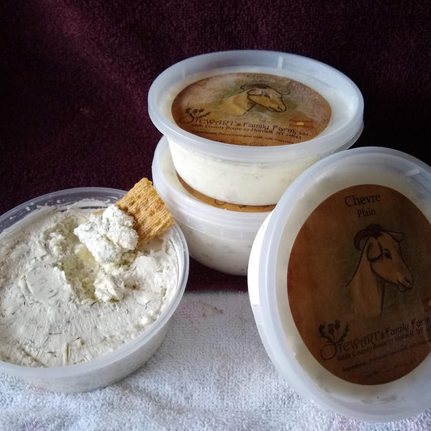 Chevre, a creamy goat cheese, available in four flavors