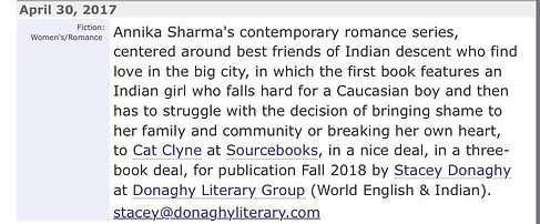 Publisher's Marketplace Announcement of Annika Sharma's Book Deal