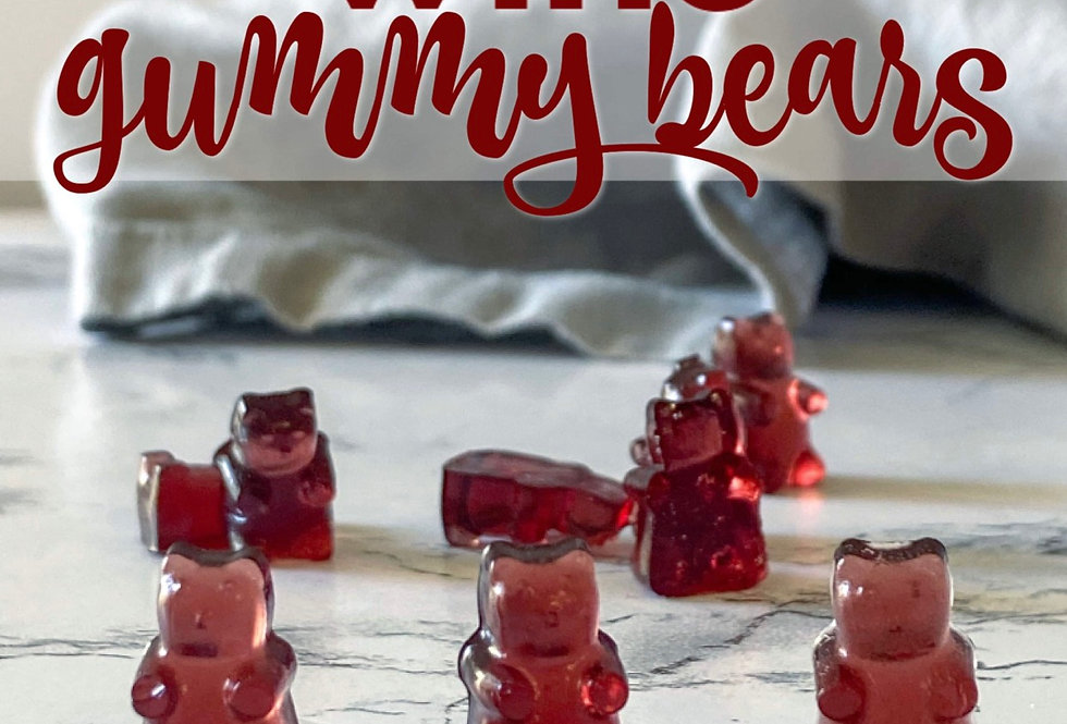 Red wine gummy bears  and wine glass