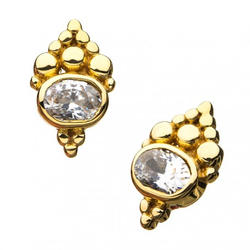 Yellow Gold Beaded Cluster Design around 3mm Clear CZ Top
