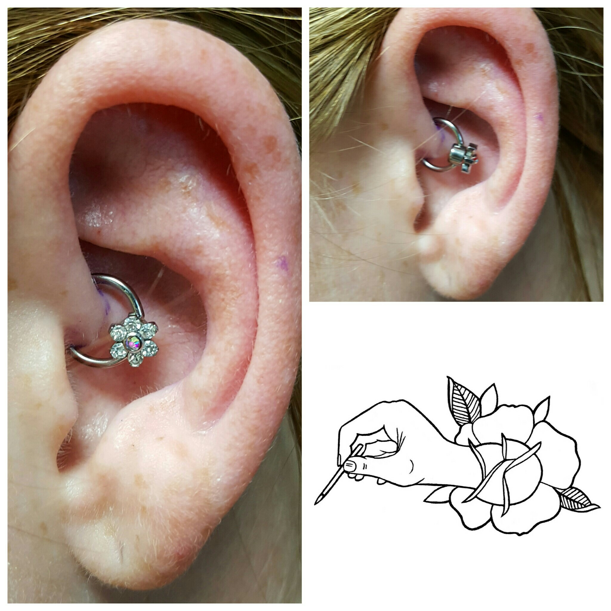 Daith piercing_ 16 gauge 5_16 captive bead ring and an added Prong Set Crystal Flower Internally Thr