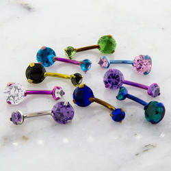 DOUBLE PRONG GEM CURVED BARBELL