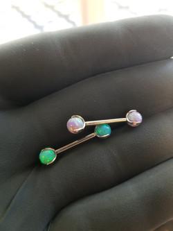5mm Opal balls 14 Gauge 1/2 Barbell