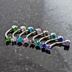 DOUBLE PRONG STONE CURVED BARBELL