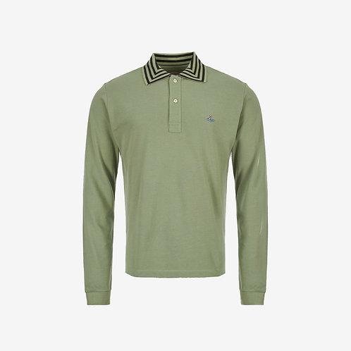 Vivienne Westwood Orb Logo Long Sleeve Polo - Green