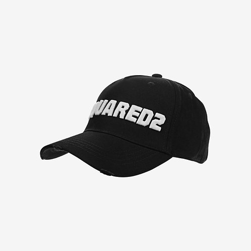 Dsquared2 Bold Embroidered Logo Baseball Cap - Black and White