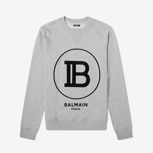Balmain Paris Circle Logo Sweatshirt - Grey
