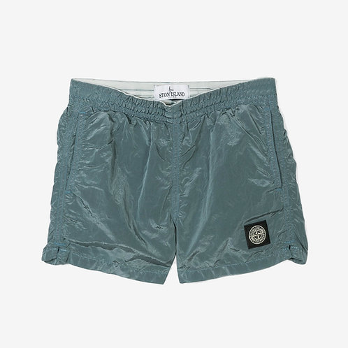 Stone Island Junior Nylon Metal Crinkle Swim Shorts Grey Blue Front