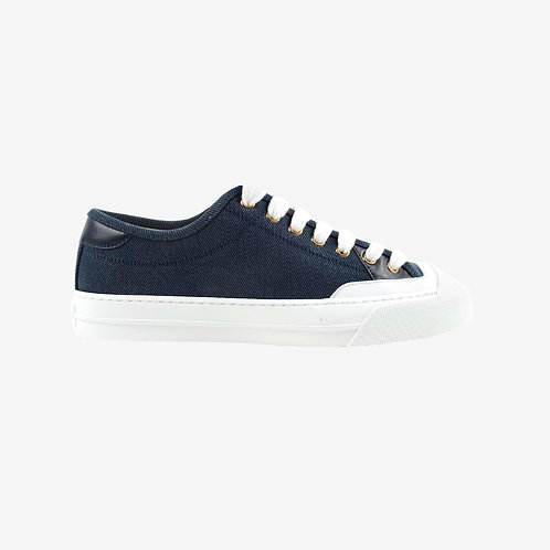 Gucci Low-Top Lace-Up Denim Sneakers - Dark Blue
