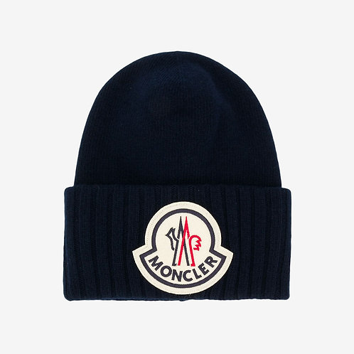 Moncler Wool Logo Patch Oversized Beanie Hat Navy