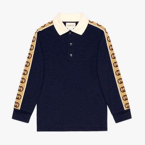 Gucci Kids Interlocking G Long Sleeve Polo Shirt - Dark Blue