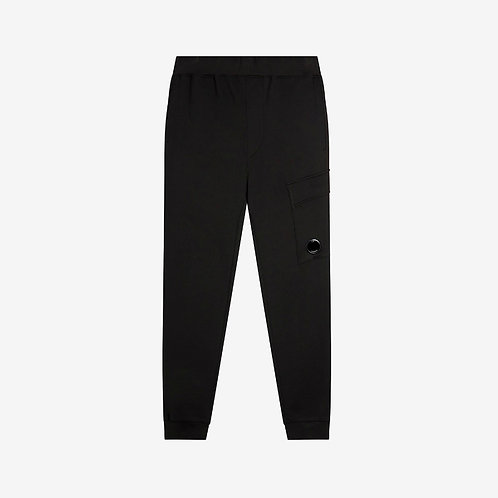 C.P. Company Diagonal Fleece Sweat Pants with Lens - Black
