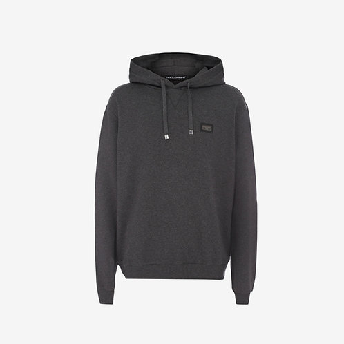 Dolce & Gabbana D&G Plaque Hooded-Sweatshirt - Grey
