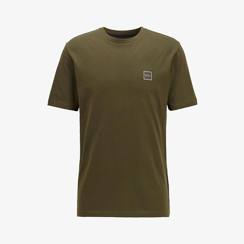 Boss 'Tales' Patch Logo T-Shirt - Khaki Green
