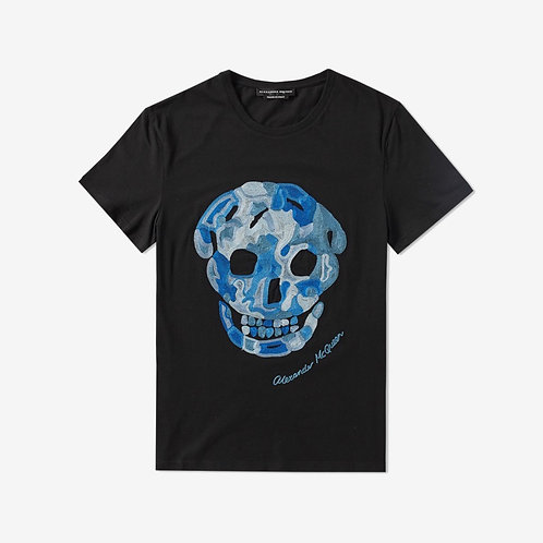 Alexander McQueen Embroidered Skull T-Shirt Black Blue Front