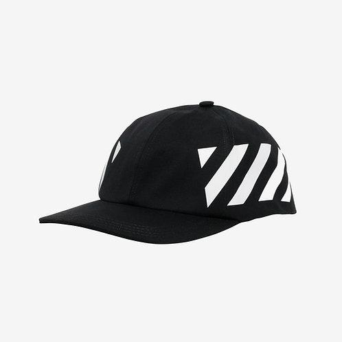 Off-White Diagonal Stripe Snapback Baseball Cap Black